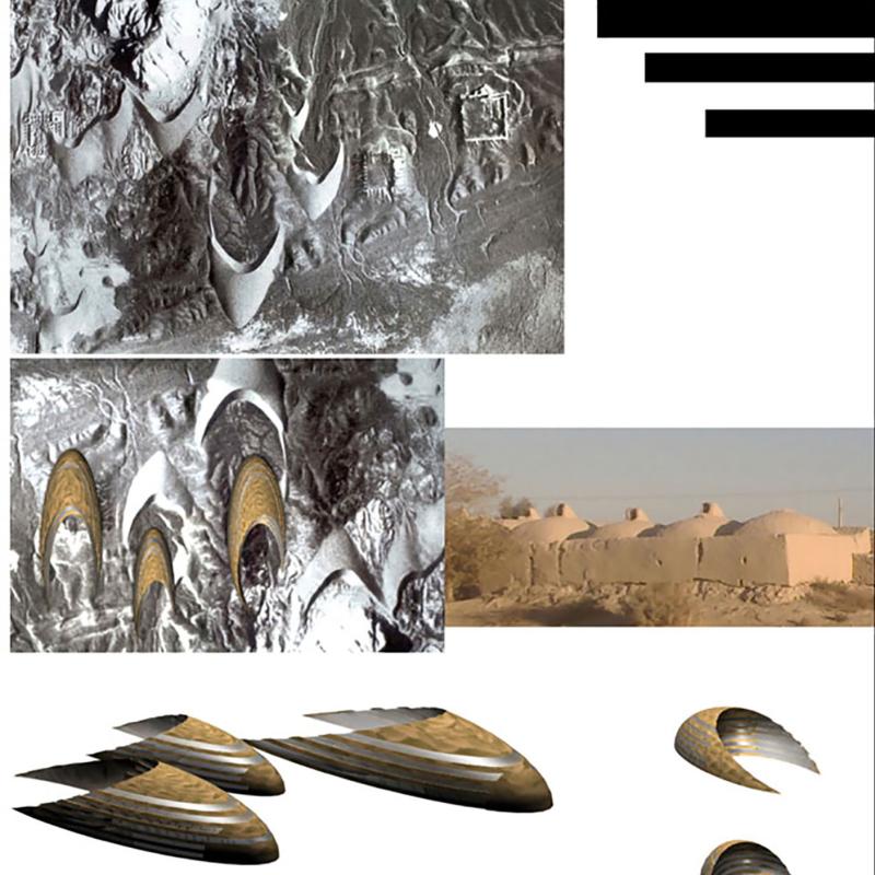 طرح پیشنهادی حامد کیخا برای ششمین دوره جایزه معماری میرمیران (خاک، باد و معماری)