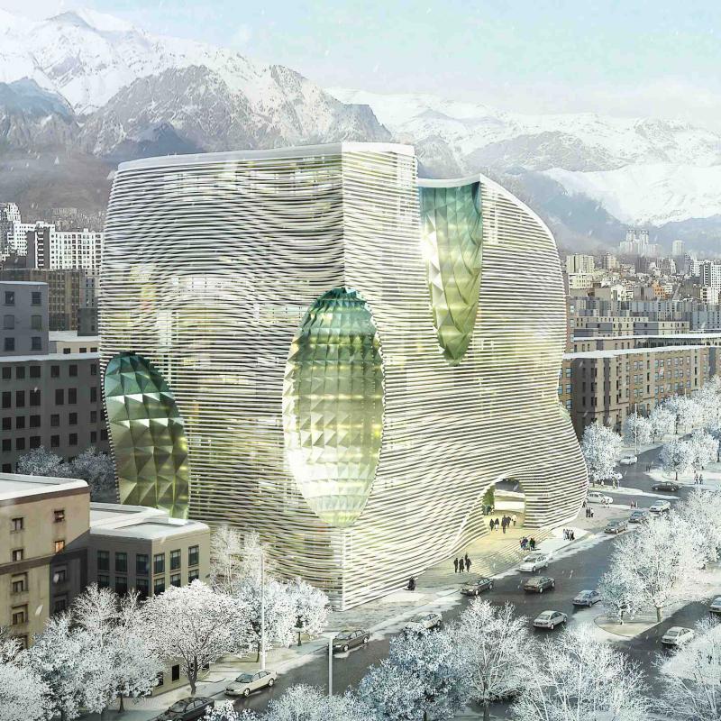 طرح پیشنهادی مهندسین مشاور ایران آرک، شرکت مام و شرکت لاوا برای مسابقه بین المللی طراحی معماری ساختمان مرکزی بورس اوراق بهادار